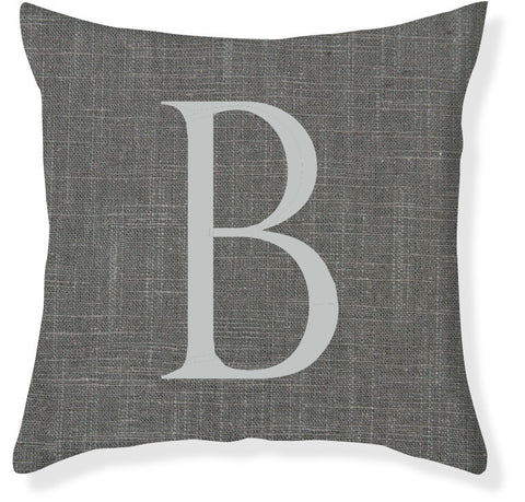 1-Letter Block Charcoal and Silver Monogram Pillow Cover