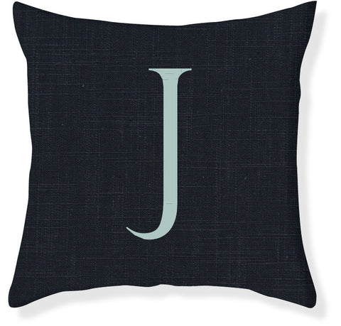 1-Letter Block Navy and Aqua Monogram Pillow Cover
