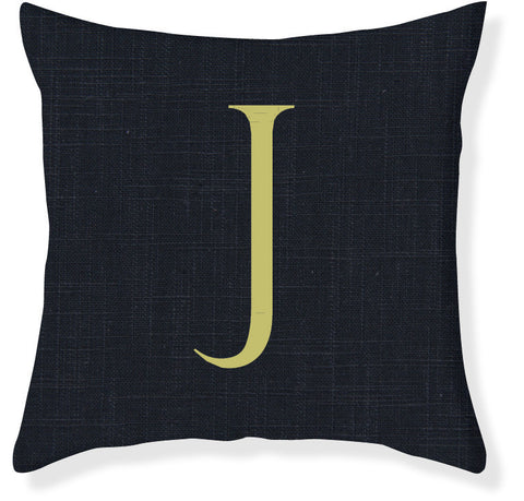 1-Letter Block Navy and Citron Monogram Pillow Cover