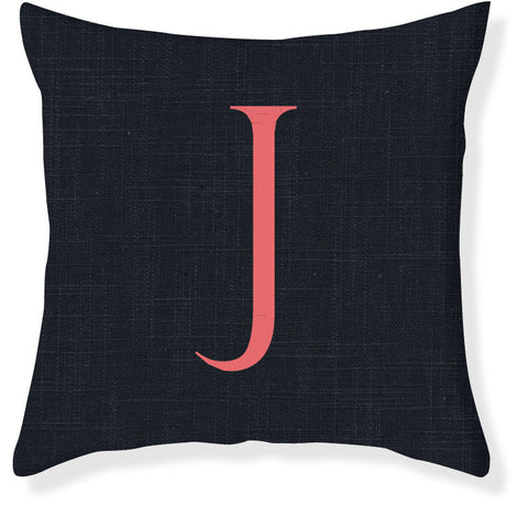 1-Letter Block Navy and Coral Monogram Pillow Cover