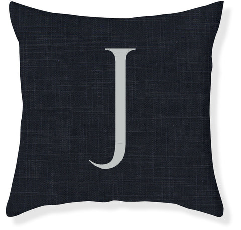 1-Letter Block Navy and Silver Monogram Pillow Cover