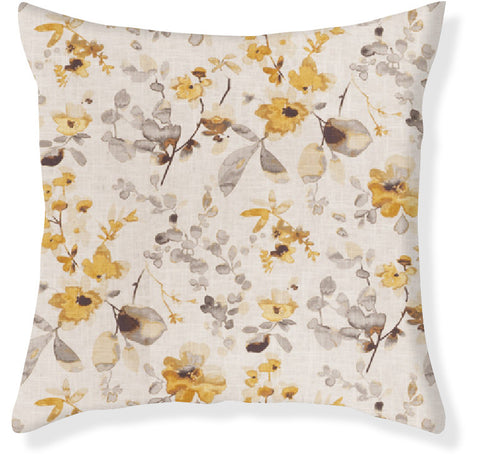 Watercolor Floral Gold Pillow Cover