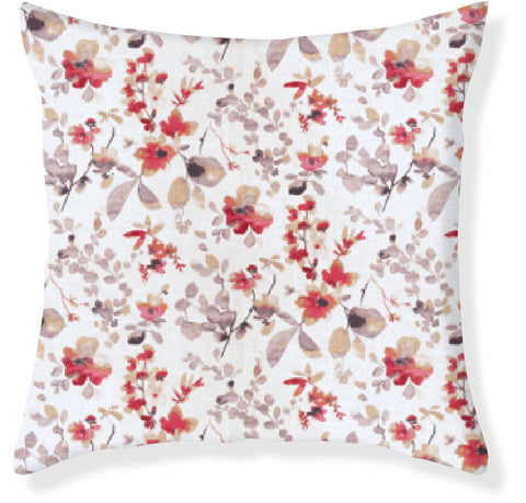 Watercolor Floral Red Pillow Cover