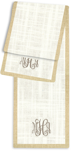 3-Letter Scroll Cream and Linen Monogram Table Runner
