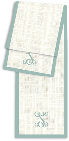 1-Letter Scroll Cream and Aqua Monogram Table Runner
