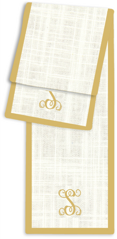 1-Letter Scroll Cream and Gold Monogram Table Runner