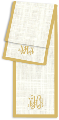 3-Letter Scroll Cream and Gold Monogram Table Runner