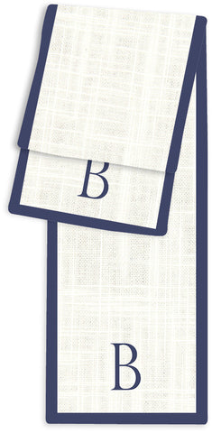 1-Letter Block Cream and Navy Monogram Table Runner