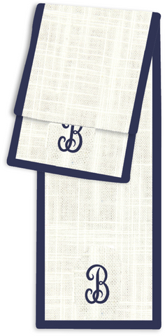 1-Letter Juliette Cream and Navy Monogram Table Runner