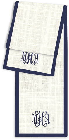 3-Letter Scroll Cream and Navy Monogram Table Runner