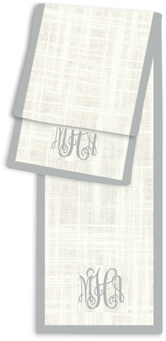 3-Letter Scroll Cream and Silver Monogram Table Runner