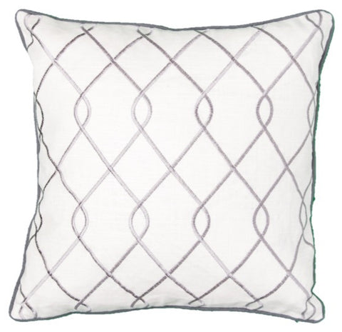 Embroidered Trellis Gray Pillow Cover