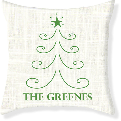 Cream and Emerald Christmas Pillow Cover