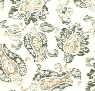 Floral Sketch Gray Fabric by the Yard