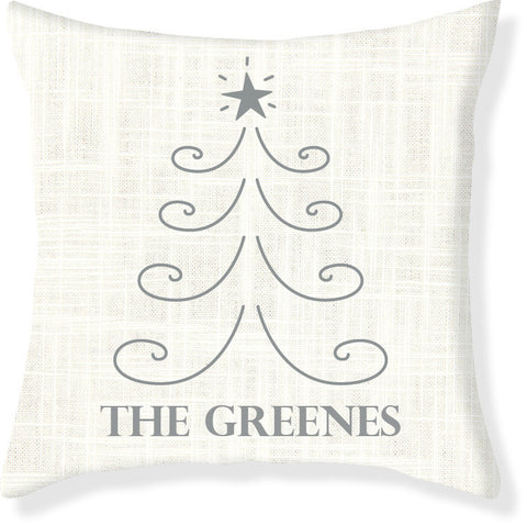 Cream and Silver Christmas Pillow Cover