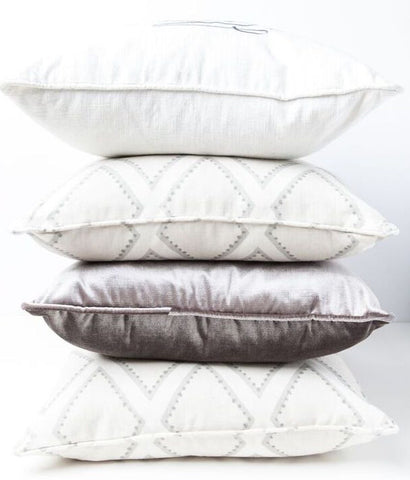 Cream, Charcoal and Latticework Gray Monogram Pillow Bundle