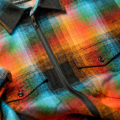 "Raised by Wolves ""Double Plaid Flannel Zip Shirt"""