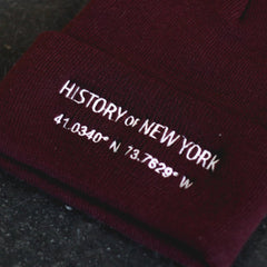 History of New York Coordinates Beanie - Maroon