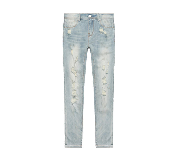 Stampd Distressed Skinny Fit Denim - Light Indigo