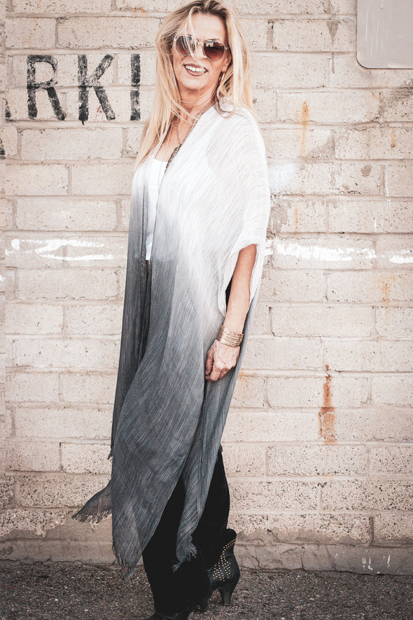 White to Charcoal Ombre Open Front Kimono Wraps & Jackets - SouthernGirlApparel.com
