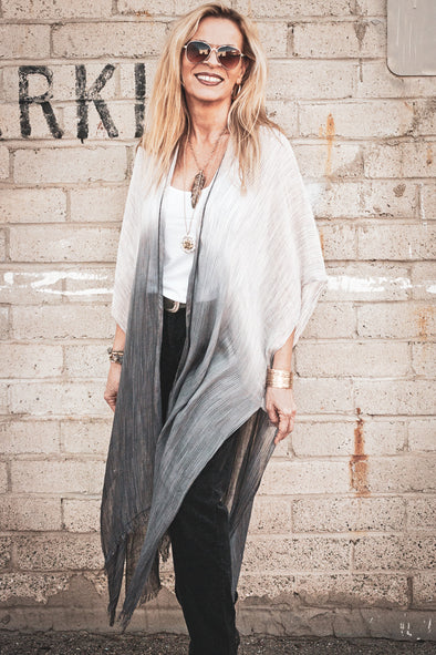 White to Charcoal Ombre Open Front Kimono - Southern Girl