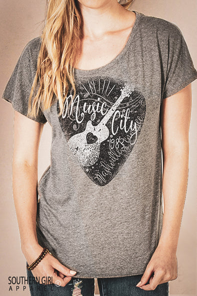 Music City Nashville Scoop Neck Dolman Sleeve Tri-blend Top T-Shirts - SouthernGirlApparel.com
