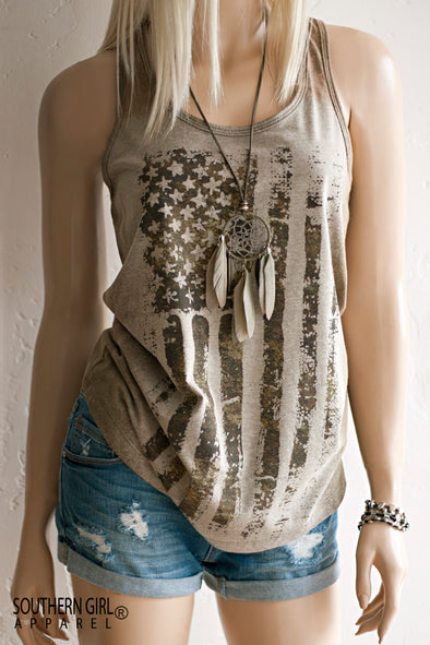 Acid Washed American Flag Military Green toned Racerback Tank Top - Southern Girl