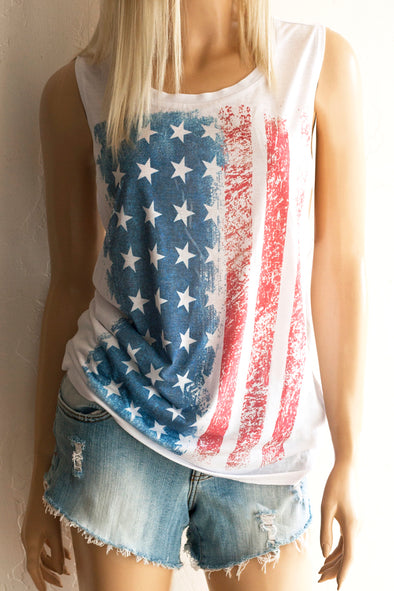 American Flag Muscle Tank Top Tank Top - SouthernGirlApparel.com