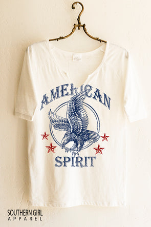 "Women's graphic tee Red White and Blue ""American Spirit"" notched neck, short sleeve t-shirt - Southern Girl Apparel® - southerngirlapparel.com"