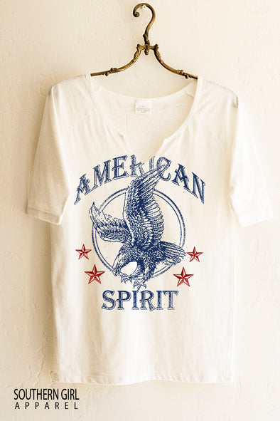 American Spirit Short Sleeve Notched Neck Graphic T-Shirt graphic tees - SouthernGirlApparel.com