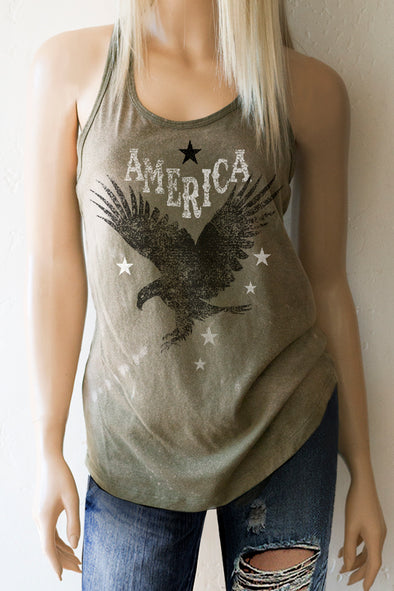 American Eagle Military Green Acid Washed Racerback Tank Top Tank Top - SouthernGirlApparel.com