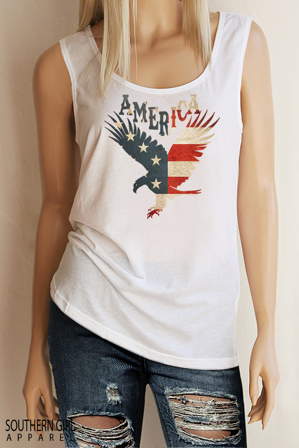 American Flag Eagle White Scoop Neck Full Back Tank Top - Southern Girl Apparel® - southerngirlapparel.com