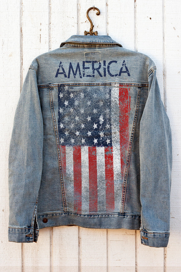 American Flag Denim Jacket back - Southern Girl Apparel®- Southerngirlapparel.com