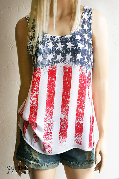 American Flag Red White & Blue Stars and Stripes Scoop Neck Standard Tank Top front - Southern Girl Apparel® - southerngirlapparel.com