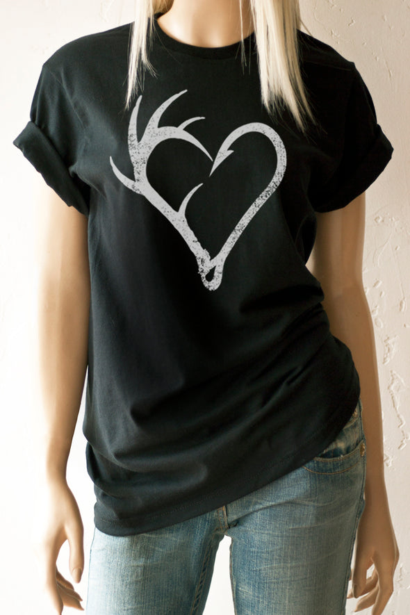 White Antler Fish Hook on black T-Shirt - Southern Girl Apparel® - southerngirlapparel.com