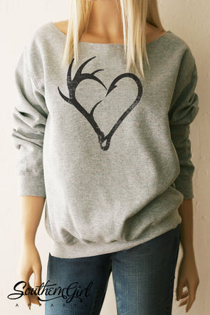 Fishing Antler Heart Hook Sweatshirt - Southern Girl Apparel® - southerngirlapparel.com