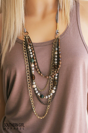 Multi Length Bead and Chain Fashion Boho Necklace - Southern Girl