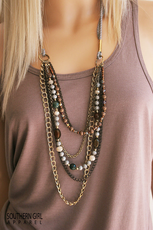 Multi Length Bead and Chain Fashion Boho Necklace jewelry - SouthernGirlApparel.com