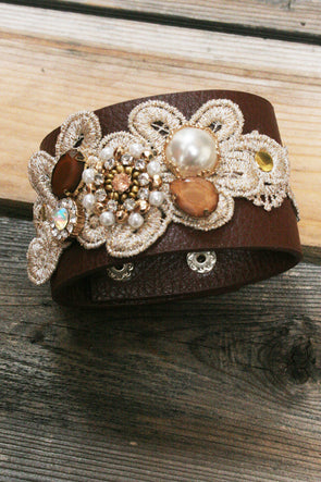 Lace Beaded & Jeweled Leather Cuff Bracelet