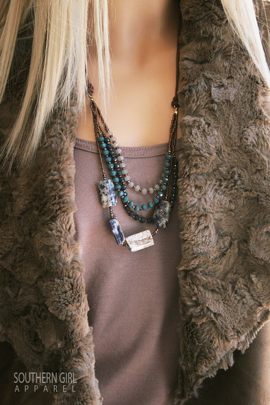 Multi Length Blue Tone Beaded Fashion Necklace jewelry - SouthernGirlApparel.com