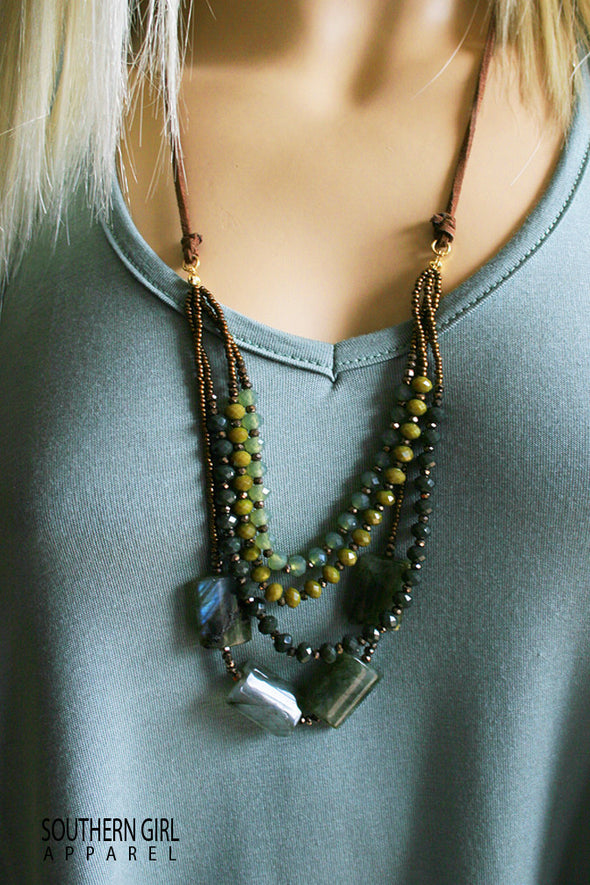 Multi Length Olive Tone Beaded Fashion Necklace-Southerngirlapparel.com