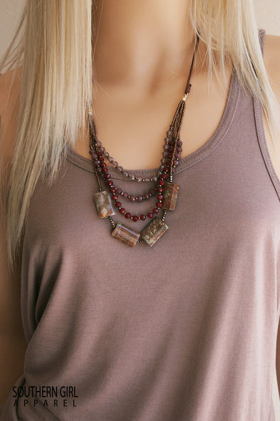 Multi Length Brown and Maroon Tone Beaded Fashion Necklace jewelry - SouthernGirlApparel.com