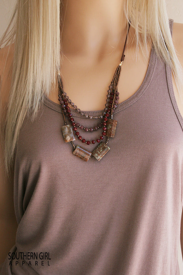 Multi Length Brown and Maroon Tone Beaded Fashion Necklace - Southern Girl