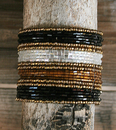 "Black, White and Gold tone - Multi-layered beaded flex cuff bracelet  - Approx. 2.5"" inner diameter  - Approx. 1.75"" wide free shipping SouthernGirlApparel.com"