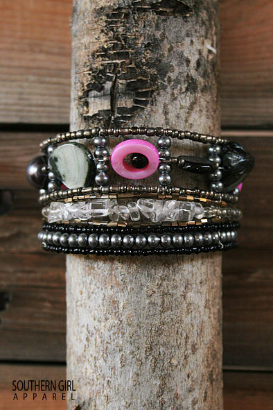 Multi Colored Beaded Wire Multi Layer Cuff Bracelet jewelry - SouthernGirlApparel.com