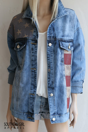 Women's American Flag Denim Jacket -Southerngirlapparel.com