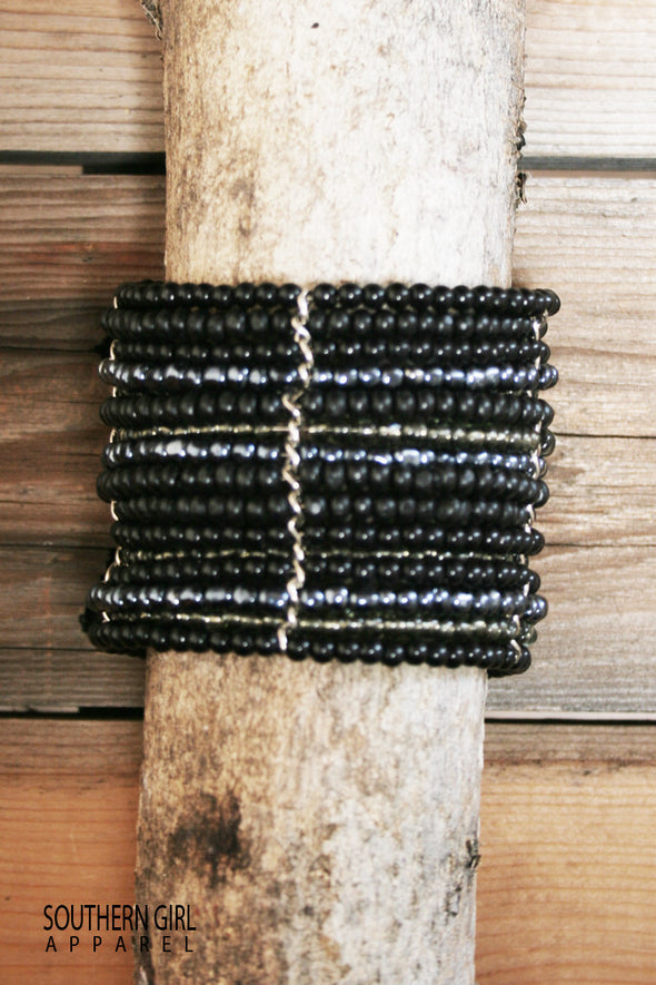 Black and Blue Grey Wide Beaded Wire Multi Layer Cuff Bracelet - Southern Girl