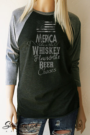 Merica Where the Whiskey Flows and the Beer Chases Baseball Tee