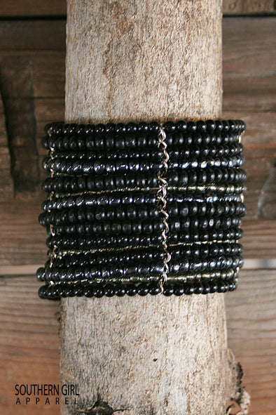 Black Wide Beaded Wire Multi Layer Cuff Bracelet - Southern Girl