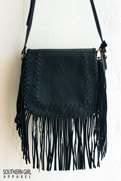 black Faux Leather Crossbody Purse with Fringe - Southern Girl